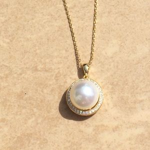 Jewelry - Gold Plated Cubic Zirconia Halo Imitation Pearl